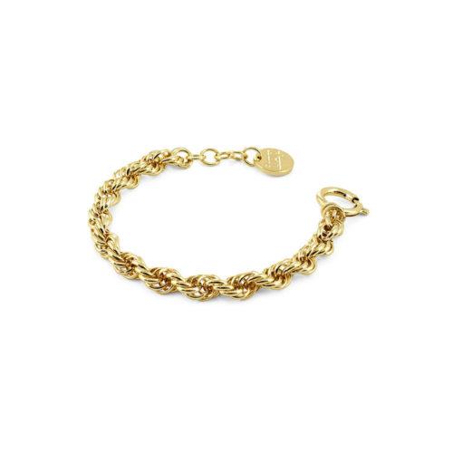 Bracciale donna Unoaerre 000EXB4434000G della collezione bronze. Bracciale Unoaerre in bronzo gold in corda Intrecciata con chiusura a moschettone tondo. Fa parte della serie Gioielli Unoaerre.