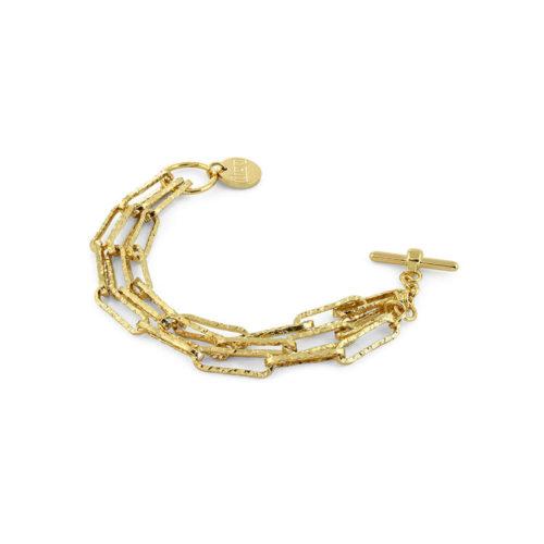 Bracciale donna Unoaerre 000EXB4455000G della collezione Classico. Bracciale Realizzato in Bronzo Gold multifilo con maglia paper chain, . mis. 20. Fa parte della serie di Gioielli Unoaerre fashion Jewellery.