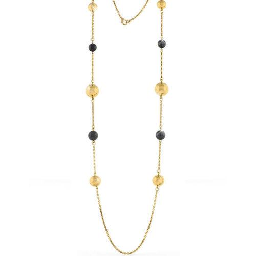 Collana Donna Unoaerre 000EXH4664000 della collezione Bronze. Collana lunga in bronzo rosè con sfere in bronzo e lucide e colorate mis. 106. Fa parte della serie di Gioielli Unoaerre fashion Jewellery.