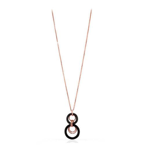 Collana Donna Unoaerre 000EXH4694000 della collezione Bronze . Collana con pendente centrale e cerchi di tessuto ruteniato e cerchi in bronzo mis. 74.Questo modellofa parte della serie di Gioielli Unoaerre fashion Jewellery.