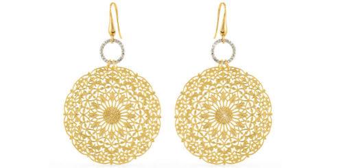 Orecchini Donna Unoaerre 000EX02501000 della collezione Bronze. Modello pendente in Bronzo Gold con rosone traforato molto moderni e luminosi, fanno parte della serie di Gioielli Unoaerre fashion Jewellery.