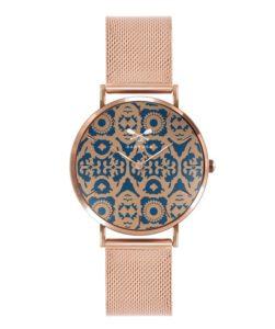 Orologio solo tempo Donna Barbosa 08RSMI-18RM079. Modello con cassa in acciaio Rosè e diametro 36,5 mm. Quadrante a fantasia e cinturino in acciaio Rosè pvd largo 18 mm. Fibia color Rosè pvd.