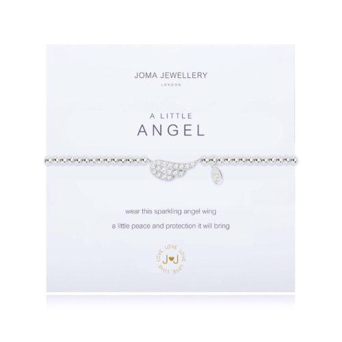 """Bracciale donna Joma 1819. Bracciale della collezione """"A little"""" in ottone placcato argento con piccolo charme a forma di ala d'angelo impreziosito da zirconi. Lunghezza 17,5 cm."""