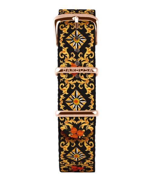 Cinturino Per Orologio Donna Barbosa 18RN272 della collezione Sicily Melograno realizzato in acciaio Rosè pvd. Il cinturino è realizzato in nylon e la stampa a Fantasia .La larghezza del cinturino è di 18 mm. resistente all' acqua .