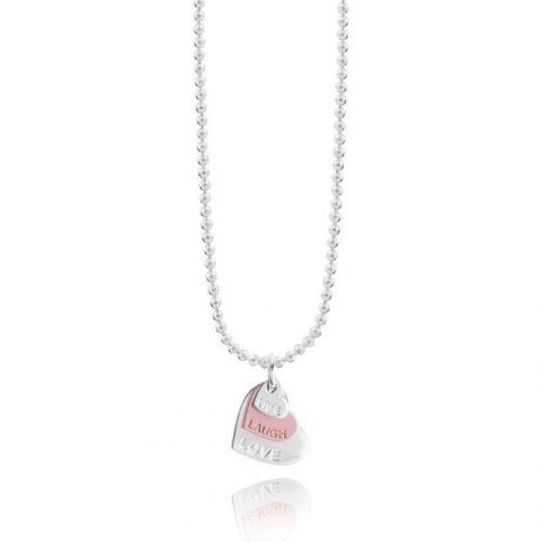 Collana donna Joma 2328. Collana della collezione klio coin in ottone placcato argento con pendente a forma di cuore colore silver, dorato e rosato. Lunghezza 46 cm.