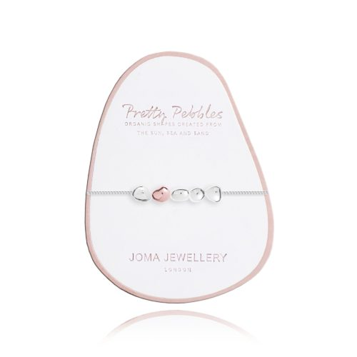 """Bracciale donna Joma 2447. Bracciale della collezione """"Pretty Pebbles"""" in ottone placcato argento con cinque ciottoli di cui uno placcato in oro rosa. Lunghezza 18 cm + 3 cm di estensione."""