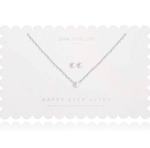 Collana e orecchini donna Joma 2489. Happy Ever After Set composto da orecchini e collana in ottone placcato in argento. Collana lunga 46cm + 5m di estensione con perla e orecchini abbinati.