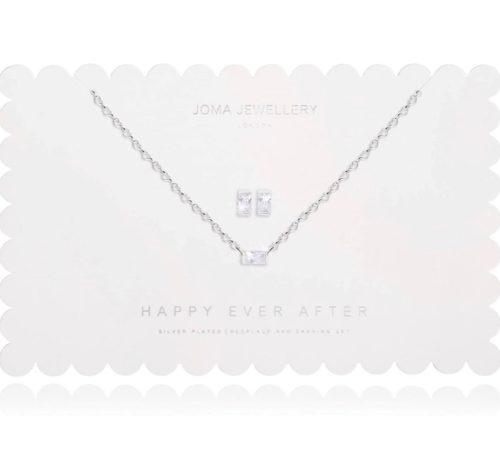 Collana e orecchini donna Joma 2493. Happy Ever After Set composto da orecchini e collana in ottone placcato in argento. Collana lunga 46cm + 5m di estensione con pietra rettangolare bianca e orecchini abbinati.