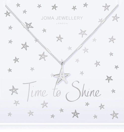 Collana donna Joma 2785. Collana Time to Shine in ottone placcato argento con ciondolo a forma di stella in ottone argentato. Lunghezza 46 cm + 5 cm di estensione.
