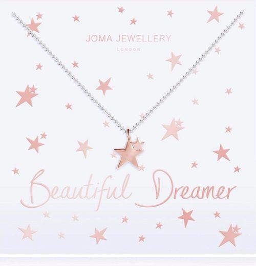Collana donna Joma 2787. Collana Beautiful Dream in ottone placcato argento con ciondolo a forma di stella in ottone rosato. Lunghezza 46 cm + 5 cm di estensione.