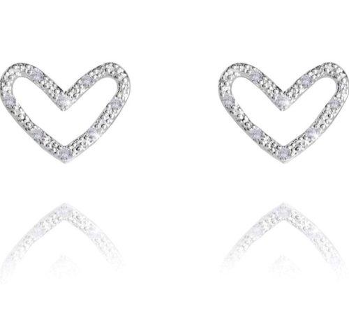 Orecchini donna Joma 2870. Orecchini Thea Heart Pave a forma di cuore in ottone placcato argento con zirconi bianchi. Chiusura a farfalla.