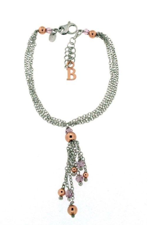 Bracciale Boccadamo donna BR309. Bracciale multifilo in argento rodiato con pendente centrale di frange di catene, cristalli Swarovski ametista e sfere d'argento placcato oro rosa.