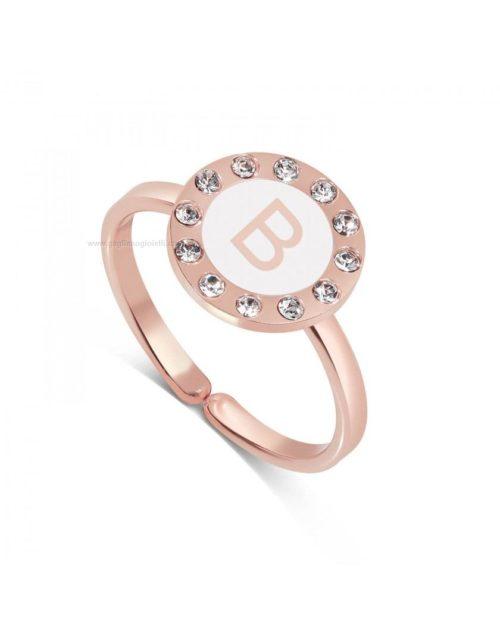 Anello donna Dvccio ZXAMICRO-B. Anello donna collezione petit trésors, in ottone rosato con zirconi, lettera B su smalto bianco