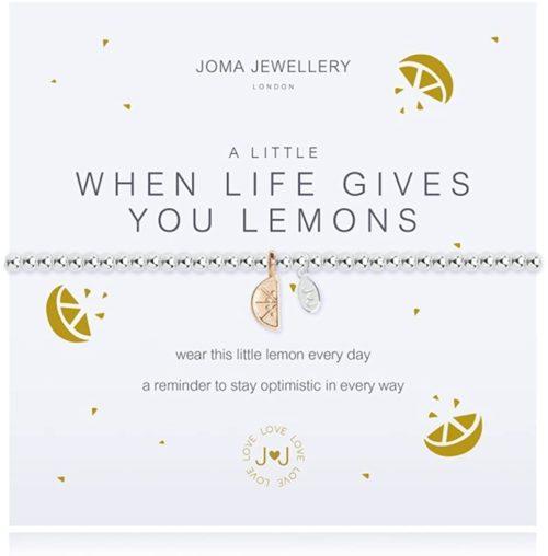 """Bracciale donna Joma 2537.Bracciale della collezione """"A little"""" in ottone placcato argento con piccolo charme a forma di limone. Lunghezza 17 cm."""