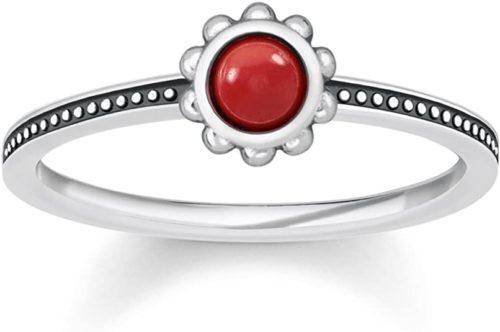 Anello Thomas Sabo donna TR2151-111-10. Anello realizzato in argento 925 con pietra centrale rossa