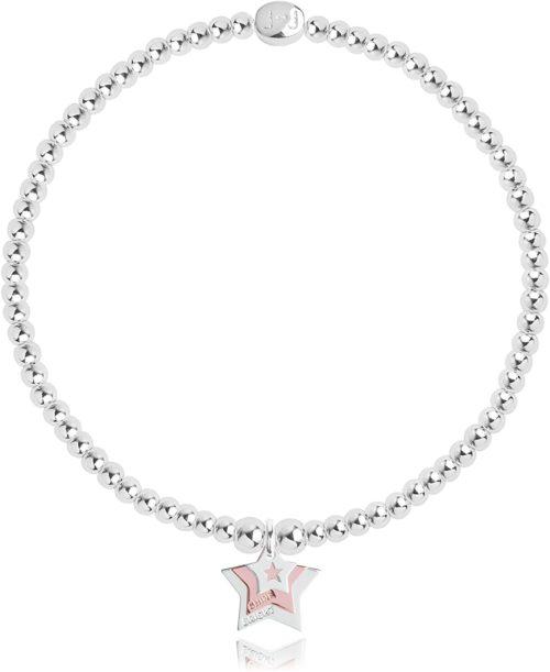 Bracciale donna Joma 2331. Braccialetto 'Live Laugh Love' in ottone placcato in argento con charme a forma di stella placcati in argento e uno placcato in oro rosa.