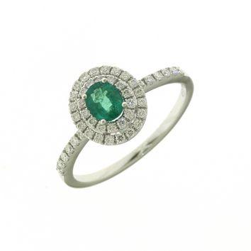 Anello Donna Mirco Visconti AB777/S. Anello con Smeraldo e diamanti realizzato in oro 18KT . Questo gioiello presenta diamanti di ct 0.31 col G VS e smeraldo ct 0,29 Colom