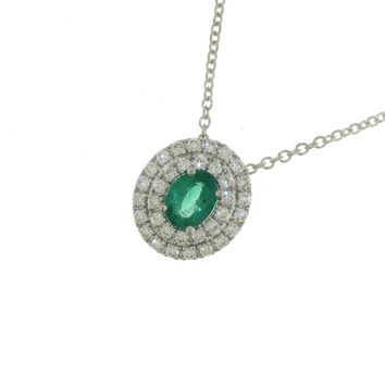 Collana Smeraldo Donna Mirco Visconti AB788/S. Collana diamanti e smeraldo realizzata in oro 18 KT. Questo gioiello presenta diamanti di ct 0,22 col G VS e pietra Smeraldo ct 0,32 Colom.