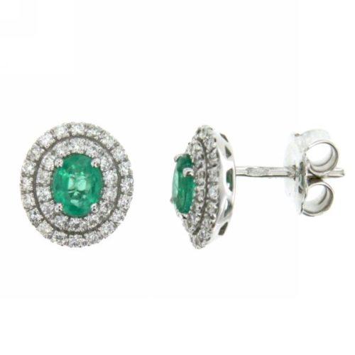 Orecchini Smeraldo Mirco Visconti AB779/S. Orecchini smeraldo e diamanti realizzato in oro 18KT . Questo gioiello presenta diamanti di ct 0.45 col G VS e pietra Smeraldo ct 0,60 Colum.