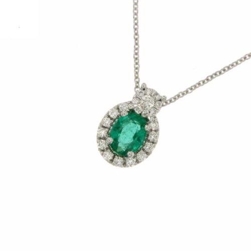 Collana Smeraldo Donna Mirco Visconti AB851/S. Collana diamanti e smeraldo realizzata in oro 18 KT. Questo gioiello presenta diamanti di ct 0,11 G VS e pietra smeraldo ct 0,31 Colum.