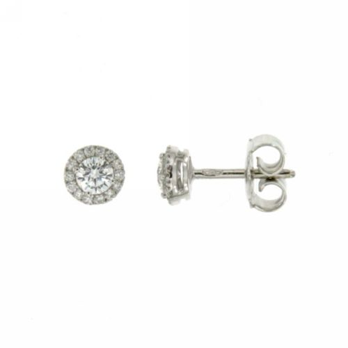 Orecchini Diamanti Mirco Visconti AB891/20. Orecchini diamanti realizzati in oro 18KT . Questo gioiello presenta diamanti di ct 0,36 e 0,10 F VS.