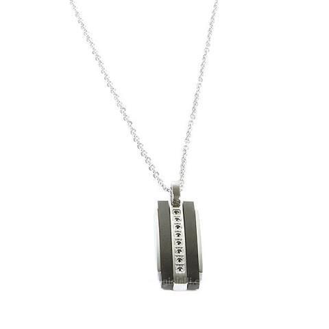 Collana Boccadamo uomo AGR143.Collana in acciaio bianco con pendente in pvd nero e zirconi neri centrali. Lunghezza cm 45.