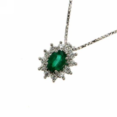 Collana Smeraldo Donna Mirco Visconti AM426/B10S. Collana con diamanti e Smeraldo realizzata in oro 18KT .. Questo gioiello presenta diamanti di ct 0.21 col G VS e pietra Smeraldo ct 0,36 Colum.