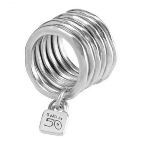 """Anello Donna Uno de 50 ANI0057METX. Anello donna multiplo in lega metallica placcato in argento con il lucchetto """"Uno de 50"""""""