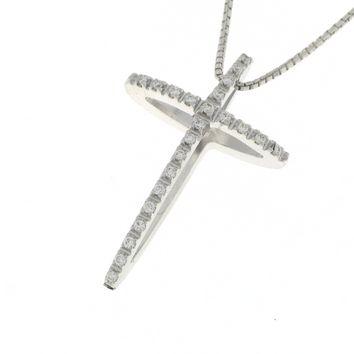 Collana Croce Diamanti Donna Mirco Visconti AZ75/20. Collana realizzata in oro 18KT con catenina veneziana e pendente a forma di croce con pavè di diamanti . Questo gioiello presenta diamanti di ct 0.11 col G VS.