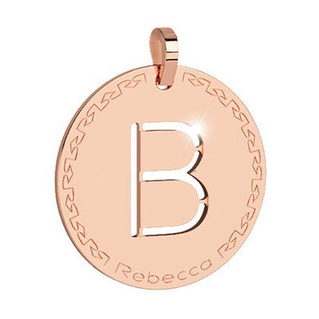 Charm Rebecca collezione myworld alphabet, in bronzo placcato oro rosa lettera B