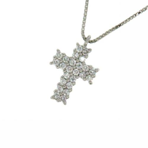 Collana Croce Diamanti Donna Mirco Visconti BG15/30. Collana realizzata in oro 18KT con catenina veneziana e pendente a forma di croce con pavè di diamanti . Questo gioiello presenta diamanti di ct 0.24 col G VS.