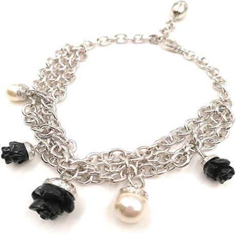 Bracciale Rebecca Collezione Mediterraneo BMDBBN55 Bracciale in bronzo multifilo con perle e rose intarsiate in onice nero.