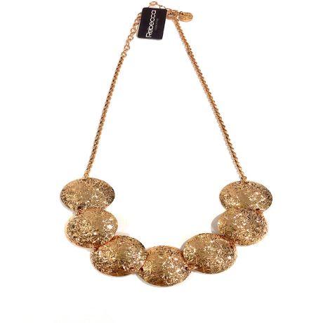 Collana Rebecca collezione Zero BRDKBR05.Girocollo in bronzo placcato con 7 cerchi medi diamantati e bombati.