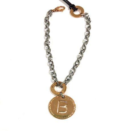 Bracciale donna gioielli Rebecca Myworldsilver BWRBBB02. bracciale donna Rebecca in bronzo con ciondolo in bronzo rosè lettera B