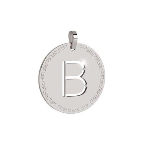 Charm Rebecca collezione myworld alphabet, in bronzo placcato bianco lettera B