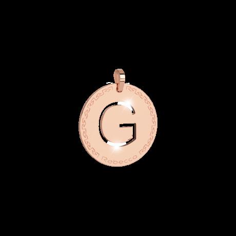 Pendente donna rebecca, bwrprc03, collezione myworld alphabet, in bronzo placcaro oro rosa per comporre la tua collana