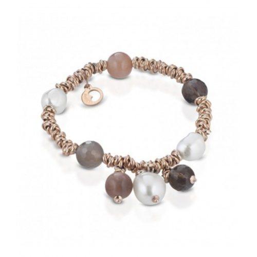 Bracciale Le Lune Donna LGBR197 della collezione Glamour . bracciale con perle di acqua dolce, moonstone e quarzo fumè . Lunghezza bracciale 18 cm.