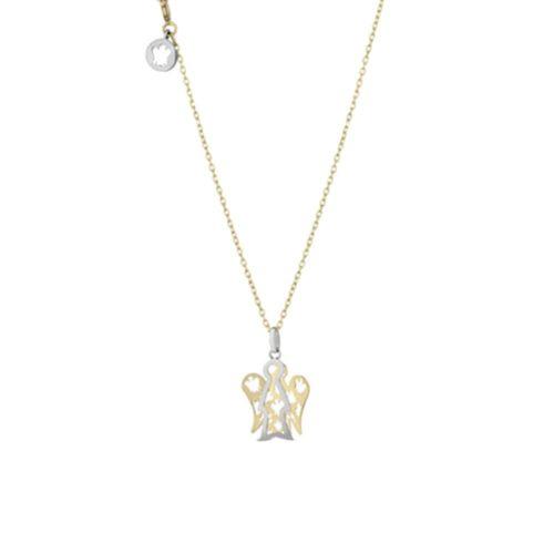Collana Giannotti donna NKT257. Collana della collezione Angeli in oro giallo 9kt con pendente angelo in oro giallo e bianco.Lunghezza catena 40/45cm - angelo: base 1,1 cm - altezza 1,2 cm.