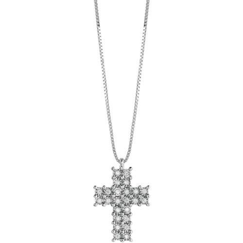 Collana Croce Bliss Lumina Donna 20085116 della collezione Lunina. Collana realizzata in oro bianco con pendente a croce con pavè di diamanti 0,08 col Gh. Misura collana 42 cm.