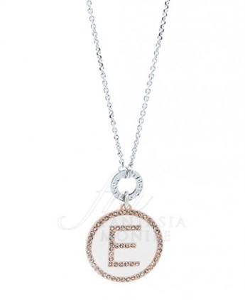 Collana Dvccio donna ZXIMCL1048/2C/W-E. Collana lunga 90cm in bronzo con medaglia con lettera iniziale E su smalto bianco. Fa parte della collezione My Letters.