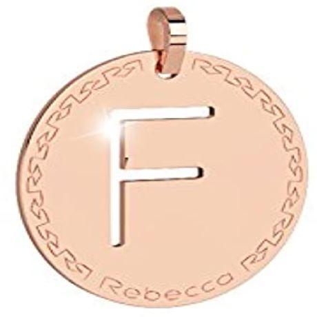 Pendente donna rebecca, bwrprf06, collezione myworld alphabet, in bronzo placcaro oro rosa per comporre la tua collana