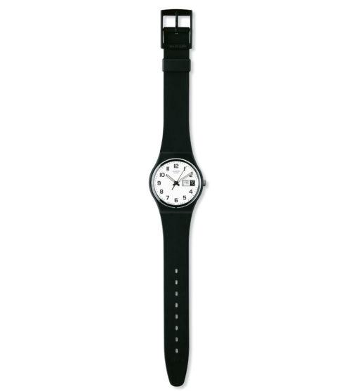 Orologio uomo Swatch GB743. Orologio in plastica pronto a seguirti tutti i giorni con il suo raffinato quadrante bianco dotato di datario con giorno e data.