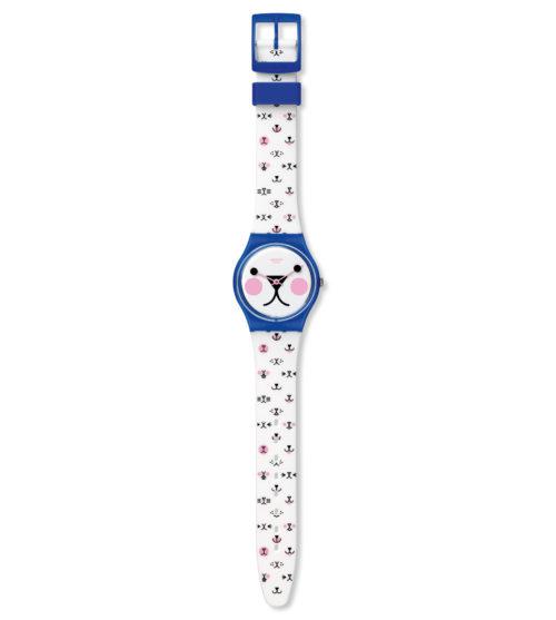 Orologio Swatch GN241. L' orologio offre il lato più divertente di un accessorio alla moda. La spiritosa stampa sul quadrante richiama il cinturino bianco opaco con stampe multicolori.