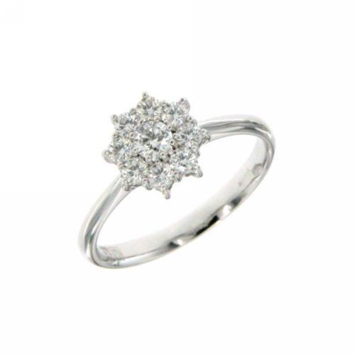 Anello Donna Fiore Mirco Visconti IE41/30. Anello con diamanti realizzato in oro 18KT . Questo gioiello presenta diamanti di ct 0.20 e ct 0,34 col F VS.