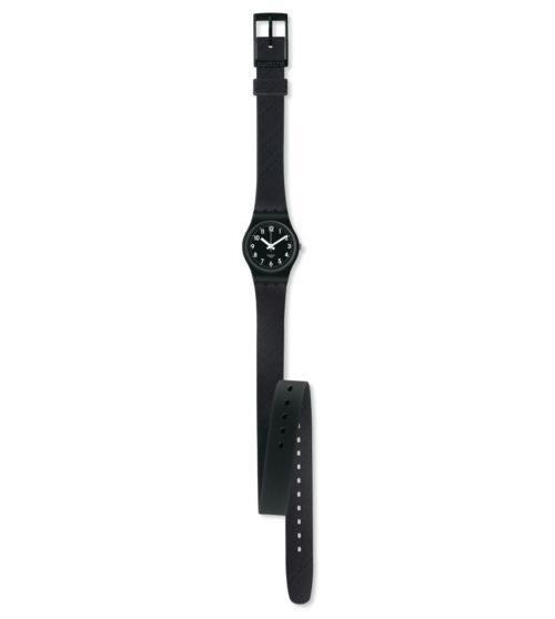 Orologio donna Swatch LB170D. Questo è un orologio in silicone da donna con una custodia in plastica e un quadrante nero.