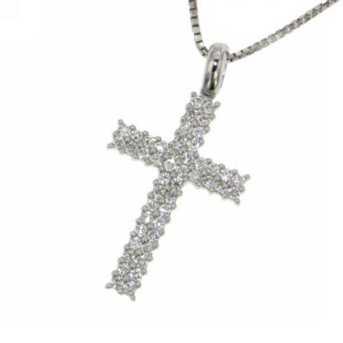 Collana Croce Diamanti Donna Mirco Visconti LF230 . Collana realizzata in oro 18KT con catenina veneziana e pendente a forma di croce con pavè di diamanti . Questo gioiello presenta diamanti di ct 0.35 col G VS.