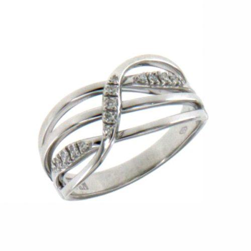 Anello Donna Mirco Visconti LF310. Anello con diamanti realizzato in oro 18KT . Questo gioiello presenta diamanti di ct 0,10 col G VS.