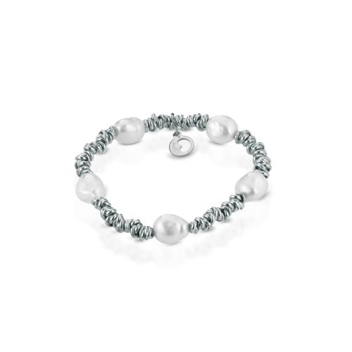 Bracciale Le Lune Donna LGBR190.1 della collezione Glamour . bracciale perle di acqua dolce realizzato in argento 925 . Lunghezza bracciale 18 cm.