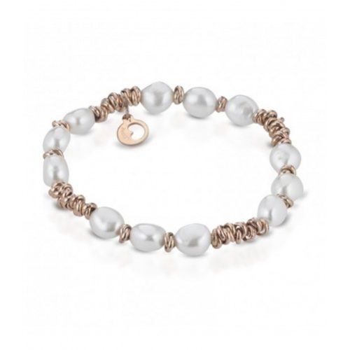 Bracciale Le Lune Donna LGBR191 della collezione Glamour . bracciale perle bianche di acqua dolce realizzato in argento rosa 925 . Lunghezza bracciale 18 cm.
