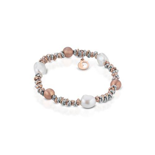 Bracciale Le Lune Donna LGBR192 della collezione Glamour . bracciale perle bianche di acqua dolce realizzato in argento rosa 925 . Lunghezza bracciale 18 cm.